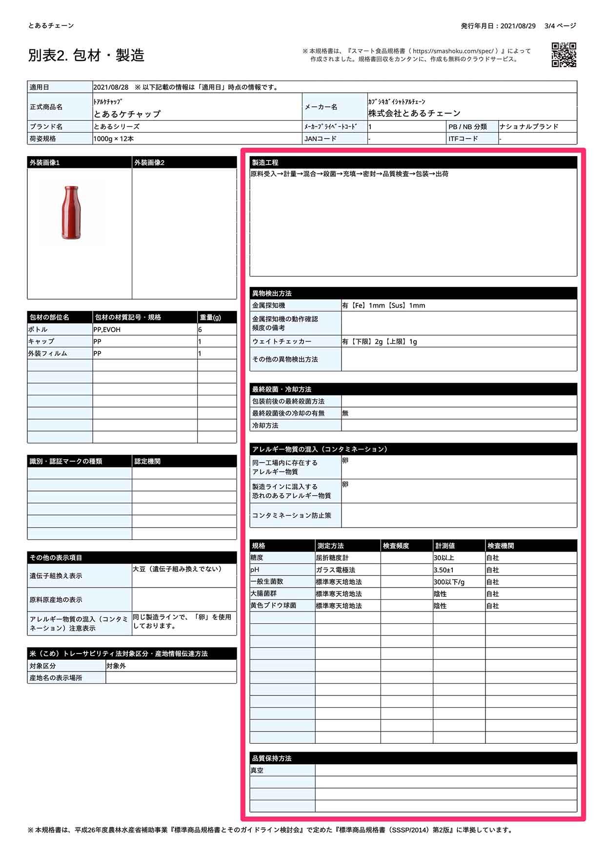 サンプル食品規格書_製造